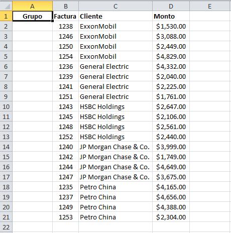 Ordenar por columna Clientes