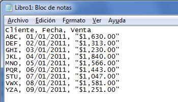 Ejemplo de archivo CSV