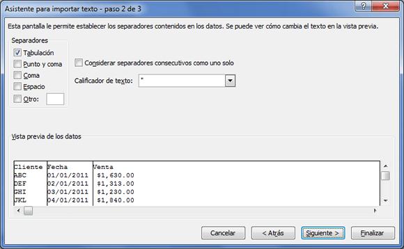 Establecer los separadores utilizados en el archivo de texto