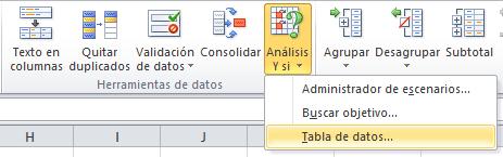 Opción Tabla de datos en Anáisis Y si
