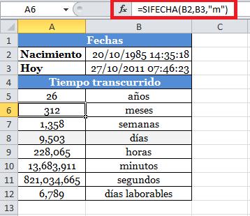 Función SIFECHA para calcular los meses entre dos fechas