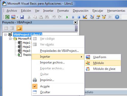 Insertar módulo de VBA