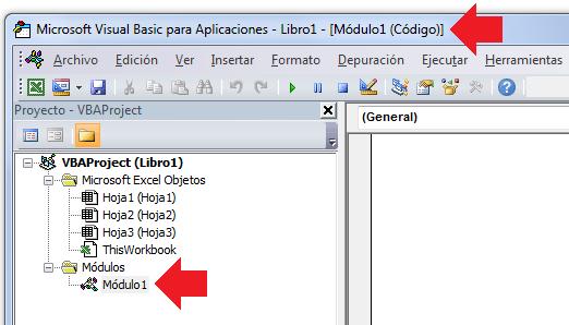 Módulo de código VBA