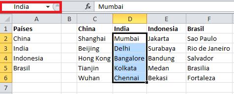 Nombres de rango para cada lista de ciudades