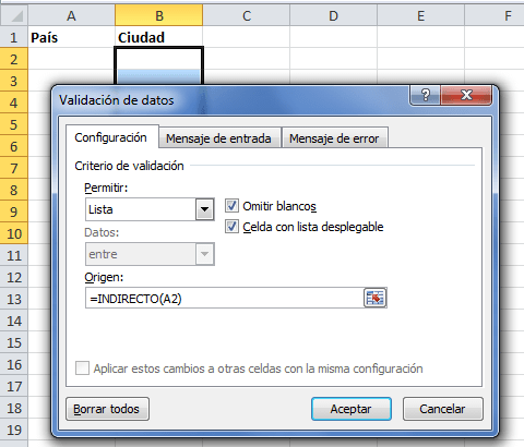 Lista de validación con función INDIRECTO