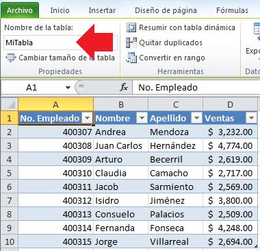 Asignar nombre a una tabla de datos