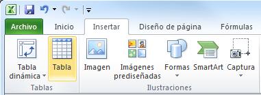 Insertar una tabla en Excel