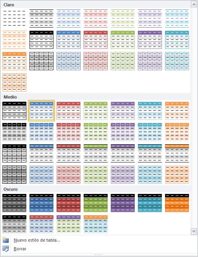 Estilos de una tabla de Excel