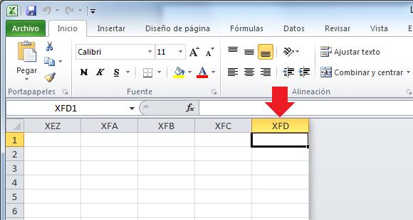 Columnas de una hoja de Excel