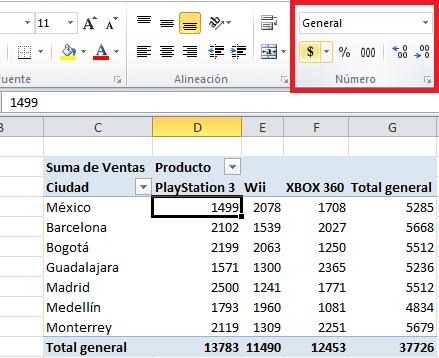 formato de números en tabla dinámica excel total