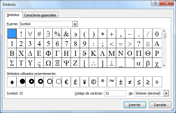Cuadro de diálogo Símbolo en Excel