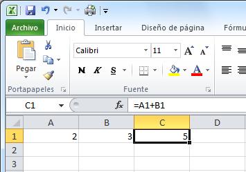 Barra de fórmulas mostrando la fórmula de una celda