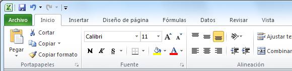 La cinta de opciones de Excel 2010