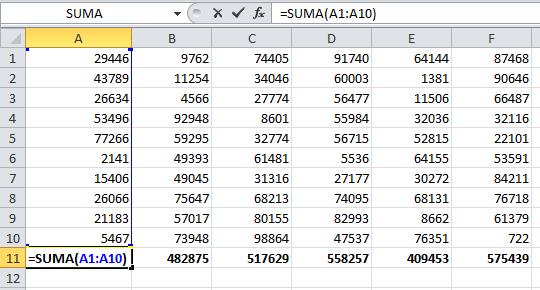 Sumando celdas en Microsoft Excel