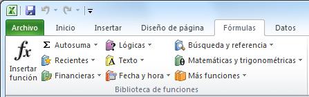 Funciones de Excel 2010