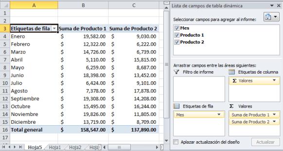 Tabla dinámica en Excel 210