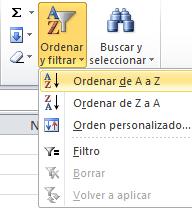 Ordenar datos en Excel