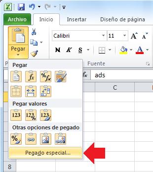 Pegado especial en Excel 2010
