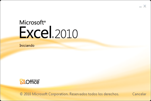 Ventana splash de Excel 2010
