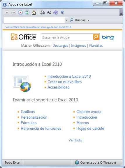 Ventana de ayuda en Excel 2010