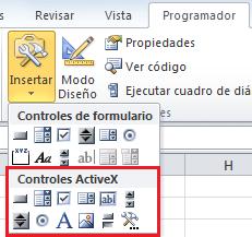 Controles ActiveX en Excel 2010