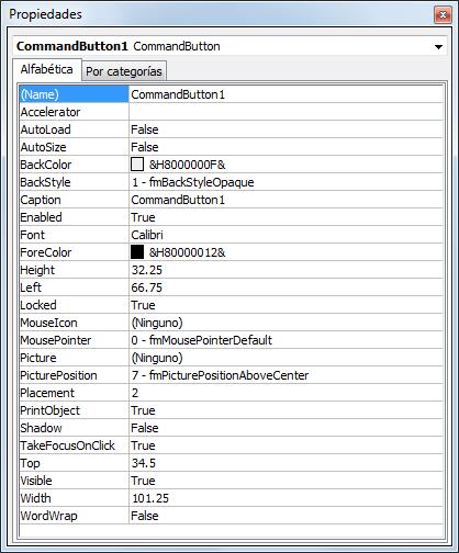 Propiedades de un botón ActiveX en Excel