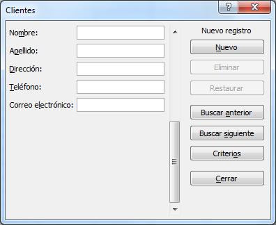 Ejemplo de formularios en Excel