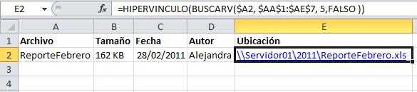 Creación de un hipervínculo en Excel