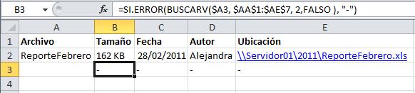 Validación de errores con la función SI.ERROR