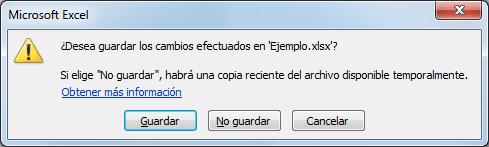 Recuperar archivos Excel no guardados