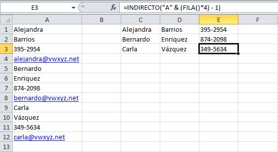 Migrar datos de una lista a varias columnas en Excel