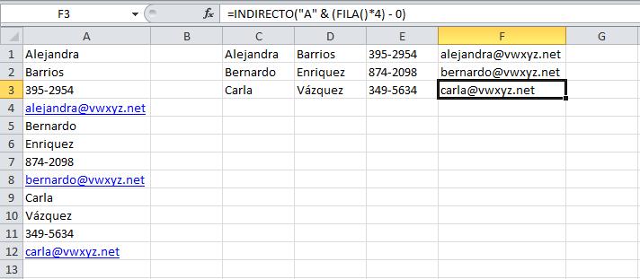 Datos en una lista convertidos en una tabla