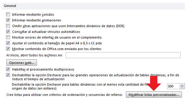 Modificar listas personalizadas en Excel