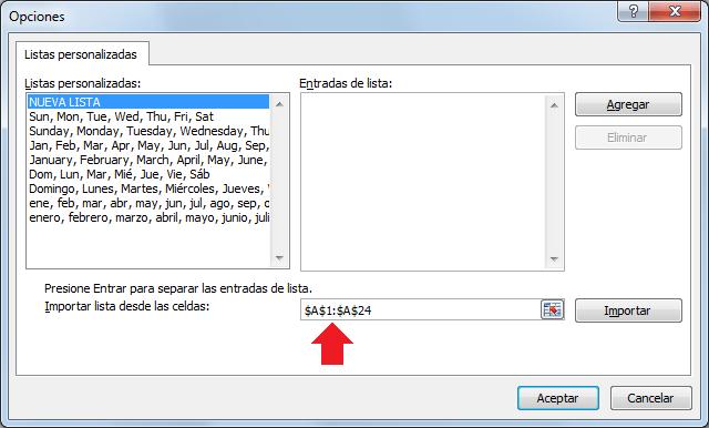 Importar lista personalizada desde celdas en Excel