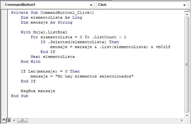 Código para procesar la selección múltiple de una caja de selección