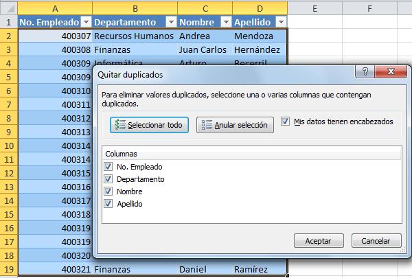 Eliminar filas duplicadas de una tabla excel total - Como panelar una pared ...
