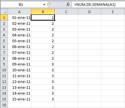 Calcular el número de semana en Excel