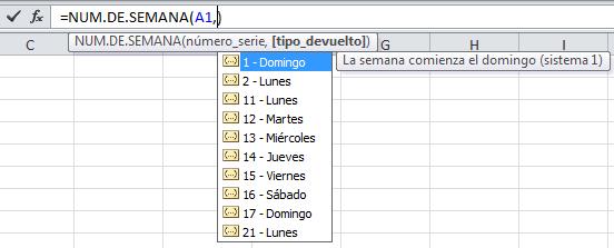 Número de semana en Excel