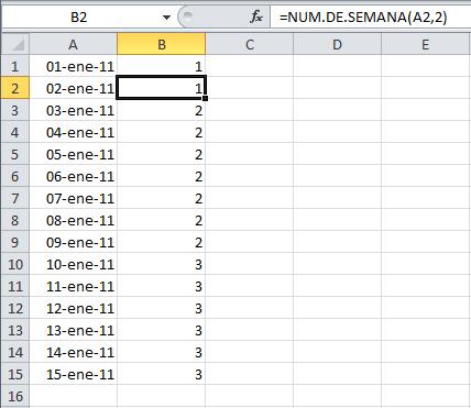 Función para calcular el número de semana en Excel