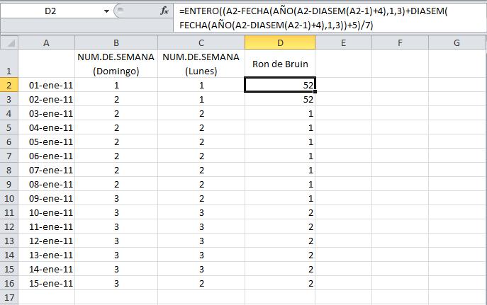 Calcular el número de la semana ISO en Excel