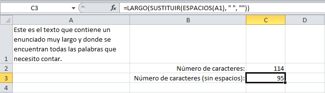 Cómo contar palabras en una celda de Excel