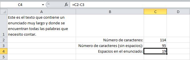 Cómo contar palabras en Excel
