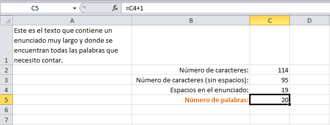 Número de palabras en una celda de Excel
