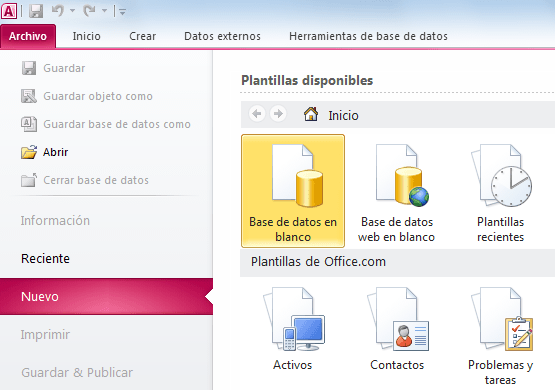 Crear una base de datos en Access en blanco