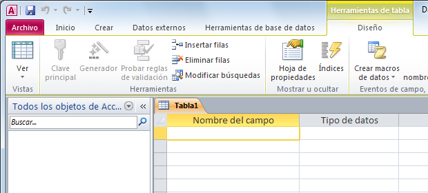 Cómo crear una tabla de Access usando la vista Diseño