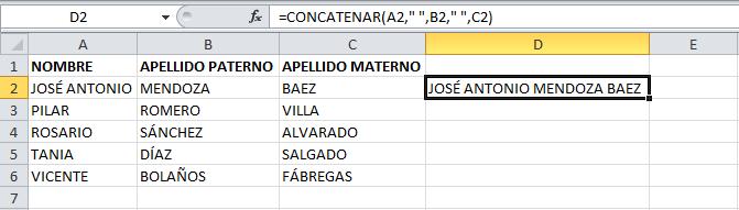 Resultado de la función CONCATENAR en Excel