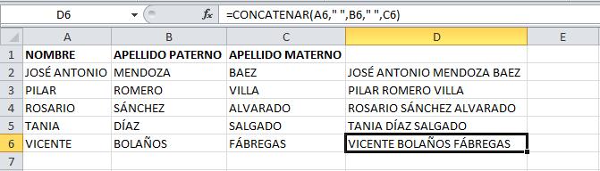 Copiar el resultado de la función CONCATENAR en Excel