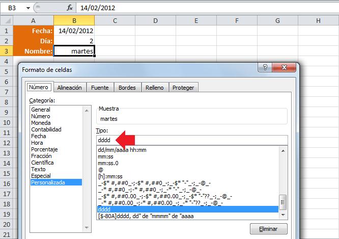 Mostrar el nombre del día en lugar del número de día de la función DIASEM