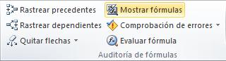 Comando Mostrar fórmulas en Excel