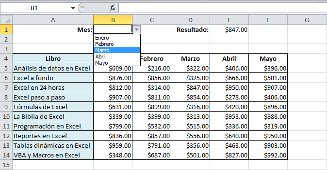 Función BUSCARV con lista de validación en Excel